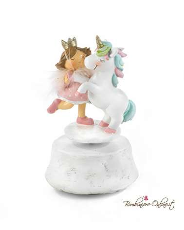 Bomboniera Carillon bimba principessa con unicorno