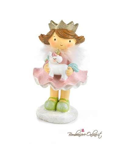 Bomboniera Bimba principessa piccola con unicorno in braccio
