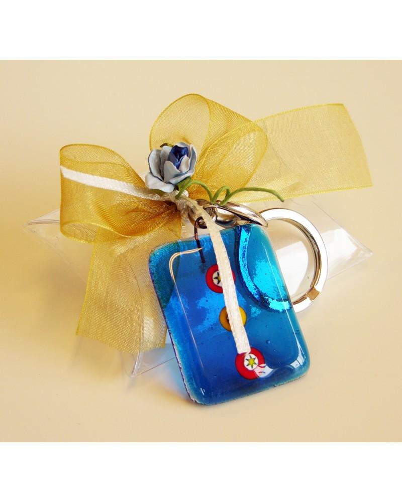 Box bustina acetato trasparente segnaposto o bomboniera con portachiavi