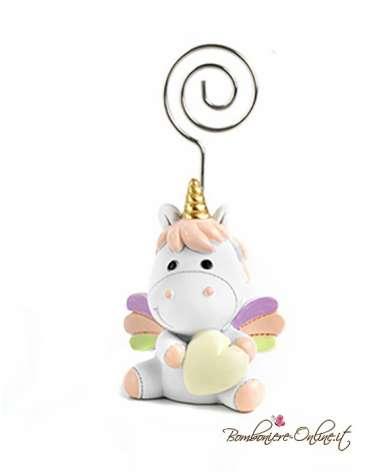 Unicorno con clips portafoto porta memo bimba