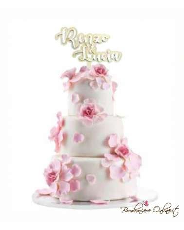 Cake topper grande in legno e plexiglass nero 6 mm.