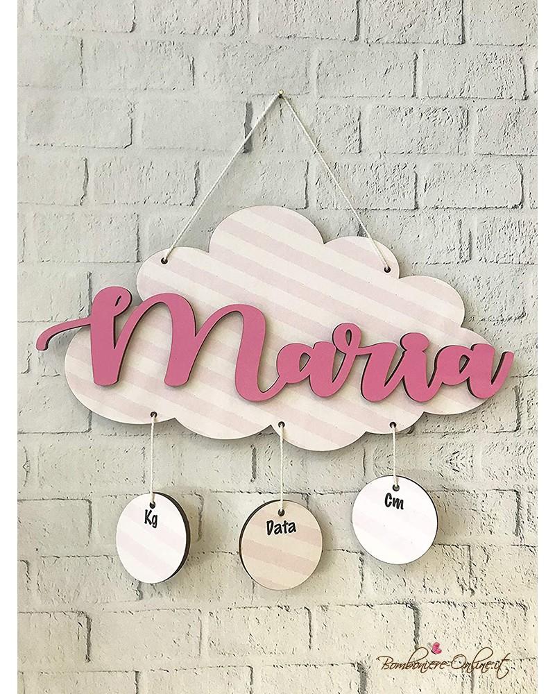 Fiocco nascita nuvola rosa personalizzabile