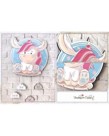 Fiocco nascita unicorno o decorazione da muro con nuvolette pendenti