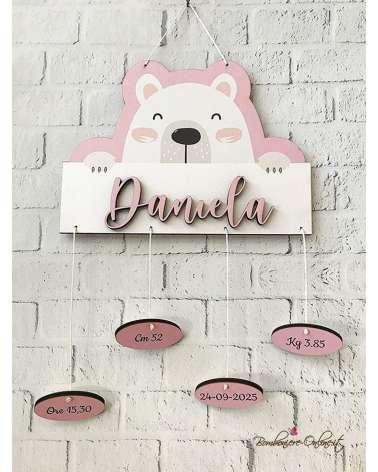 Fiocco nascita orsetto rosa personalizzabile