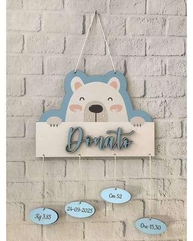 Fiocco nascita orsetto azzurro personalizzabile