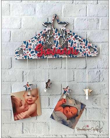 Fiocco nascita bimbo gruccia portafoto stella personalizzabile