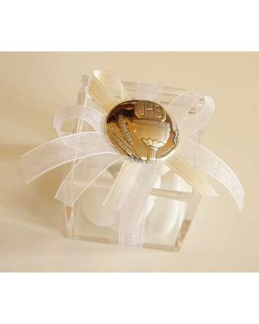 Bomboniere Comunione Box plexiglass con placchetta argento e confetti