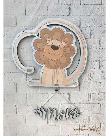 Fiocco nascita o decorazione da muro personalizzata con tenero leone