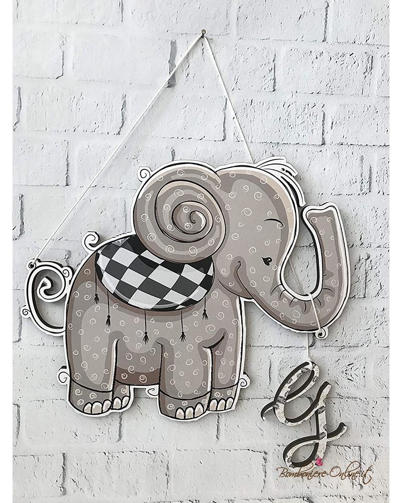Decorazione da muro o fiocco nascita con tenero elefantino personalizzabile con l'iniziale