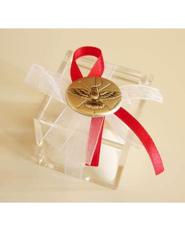 Box confetti plexiglass con placchetta argento Santa Cresima