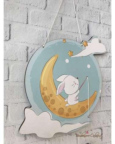 Fiocco nascita o decorazione da muro personalizzata con tenero animaletto sulla luna