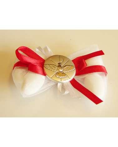 Sacchetto papillon confetti in organza con placchetta argento Santa Cresima