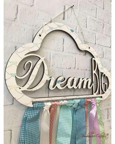 Nuvola in legno con nastri colorati acchiappasogni Dream Big