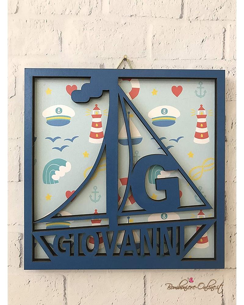 Quadro in legno intagliato con motivi marini bambino con nome