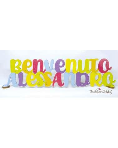 Scritta in legno con nome personalizzabile Benvenuto