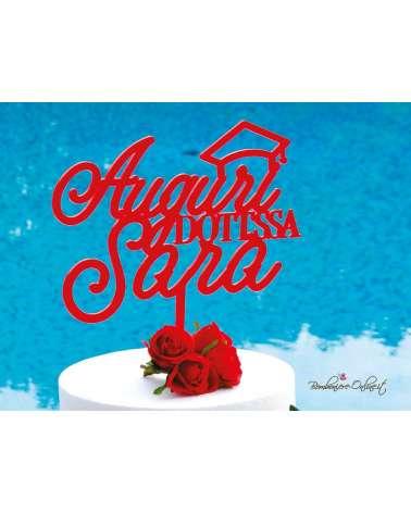 Cake topper Laurea in plexiglass rosso