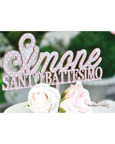 Cake topper Santo Battesimo in legno stampato rosa a pois bianchi