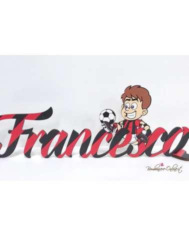 Nome in legno con supporto bambino calciatore Milan squadra rosso nera