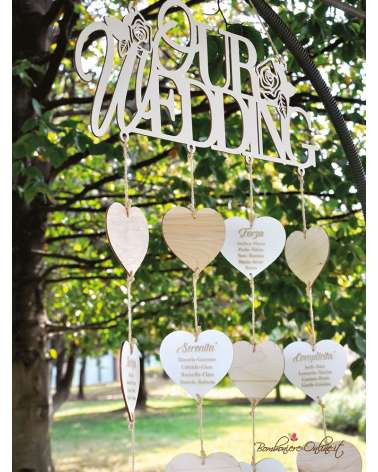 Tableau de mariage Laser in legno bianco e naturale Our wedding