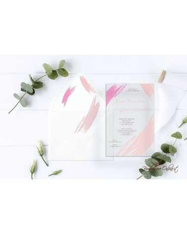 Partecipazione di nozze in plexiglass con grafica rosa