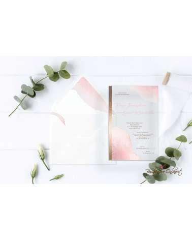 Partecipazione di nozze in plexiglass con grafica bronzo e oro