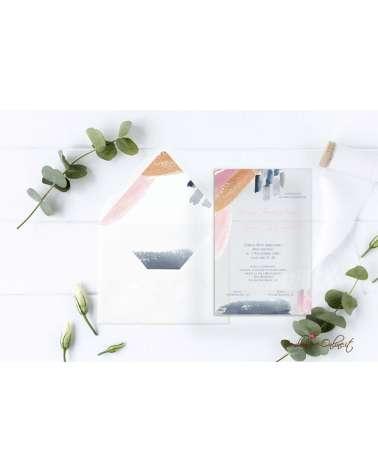 Partecipazione di nozze in plexiglass con grafica pennellate acquarello