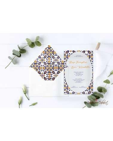 Partecipazione di nozze in plexiglass con bordo ovale stile maiolica