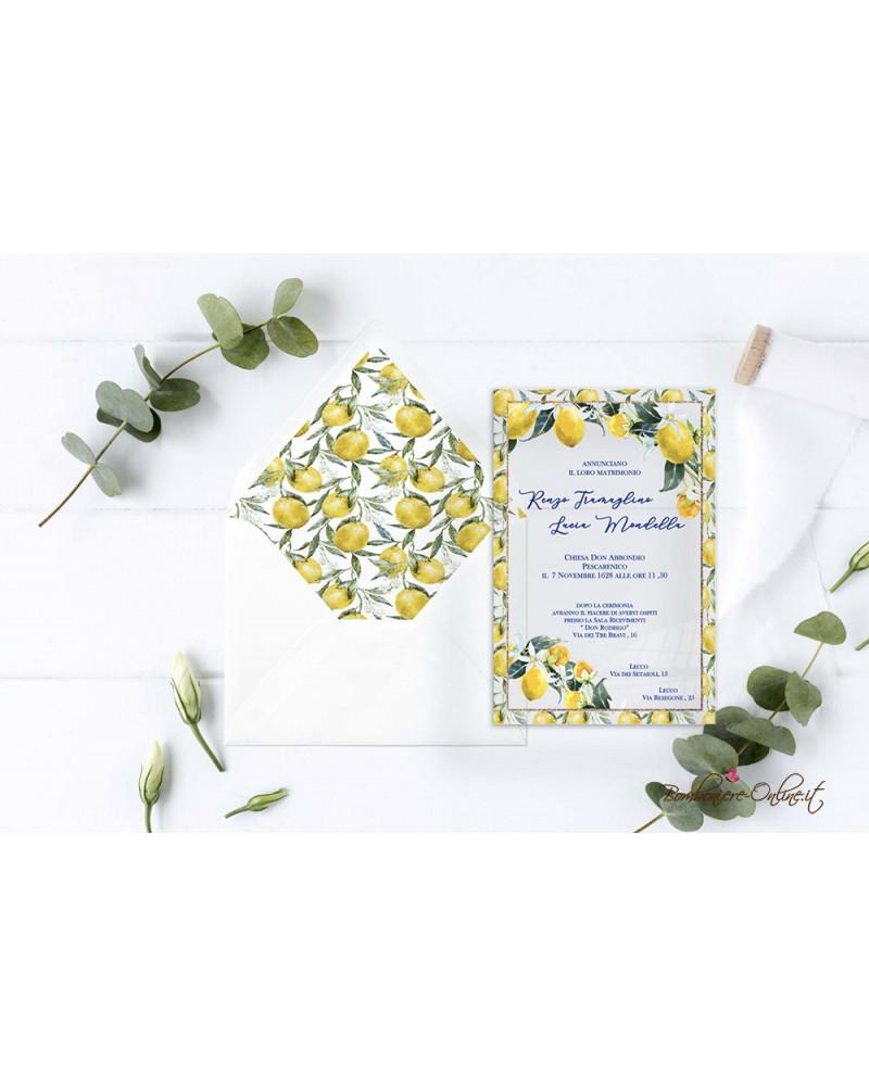 Partecipazione di nozze in plexiglass con bordura limoni