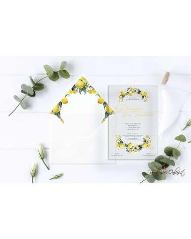 Partecipazione di nozze in plexiglass con ghirlanda limoni