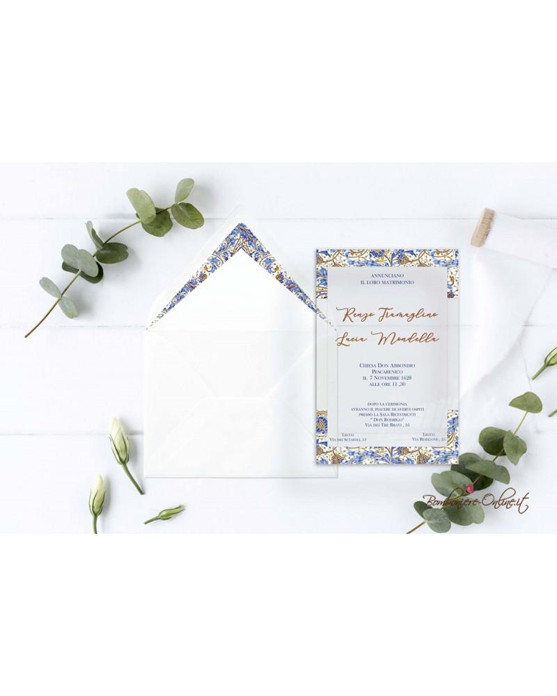 Partecipazione di nozze in plexiglass con motivo grafico classico