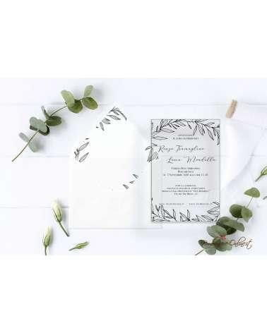 Partecipazione di nozze in plexiglass con grafica foglie semplici