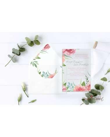 Partecipazione di nozze in plexiglass con motivo fiore e foglie
