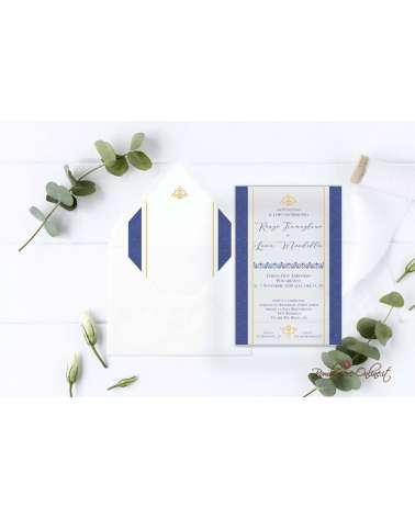 Partecipazione di nozze in plexiglass blu elegante