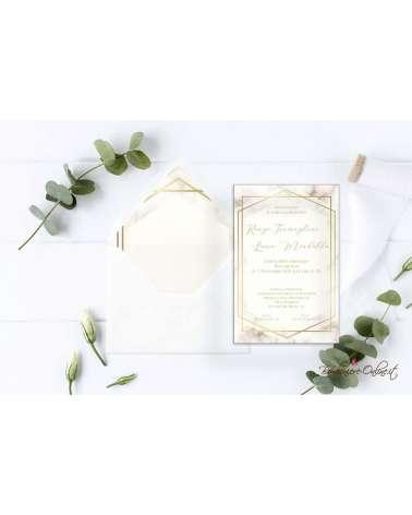 Partecipazione di nozze in plexiglass con grafica effetto marmo