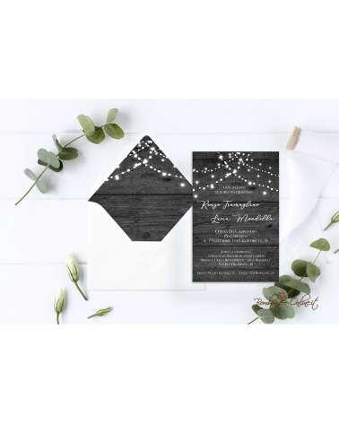 Partecipazione di nozze in plexiglass con grafica effetto legno grigia