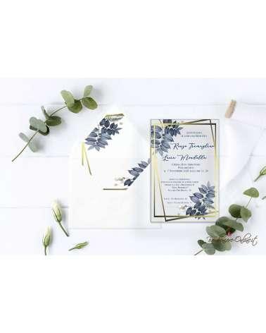 Partecipazione di nozze in plexiglass con motivo a foglie con riquadri oro