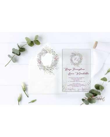 Partecipazione di nozze in plexiglass con motivo ghirlanda