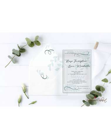 Partecipazione di nozze in plexiglass con motivo grafico foglie