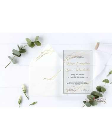 Partecipazione di nozze in plexiglass con motivo grafico color oro
