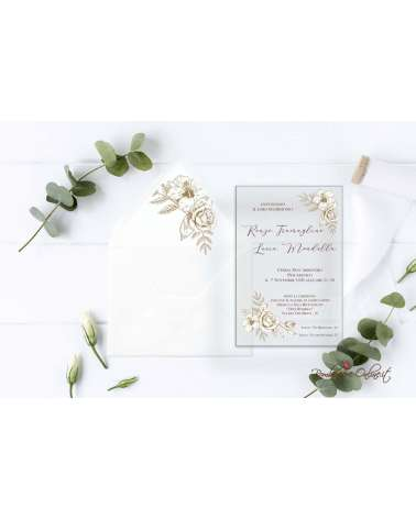 Partecipazione di nozze in plexiglass rose e ibisco
