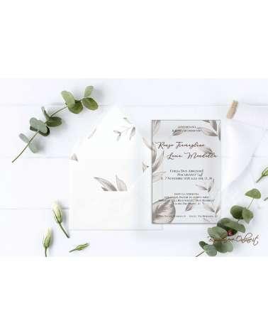Partecipazione di nozze in plexiglass Foglie