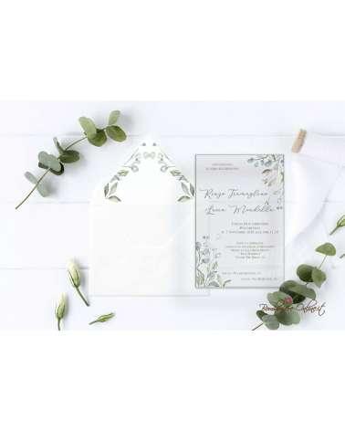 Partecipazione di nozze in plexiglass motivo con foglie tenui