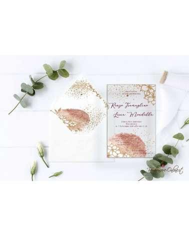 Partecipazione di nozze in plexiglass motivo floreale stilizzato