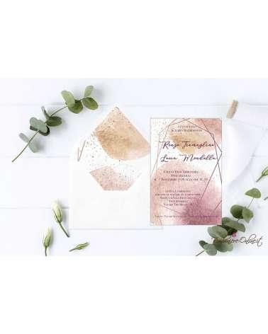 Partecipazione di nozze in plexiglass motivo grafico rosato