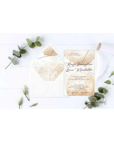 Partecipazione di nozze in plexiglass motivo grafico