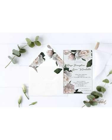 Partecipazione di nozze in plexiglass trasparente peonie