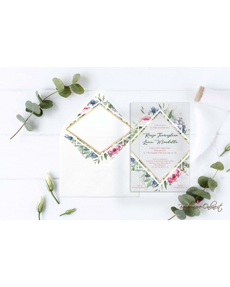Partecipazione di nozze in plexiglass trasparente cornice floreale a rombo