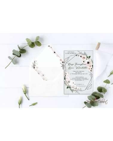 Partecipazione di nozze in plexiglass trasparente fiori delicati