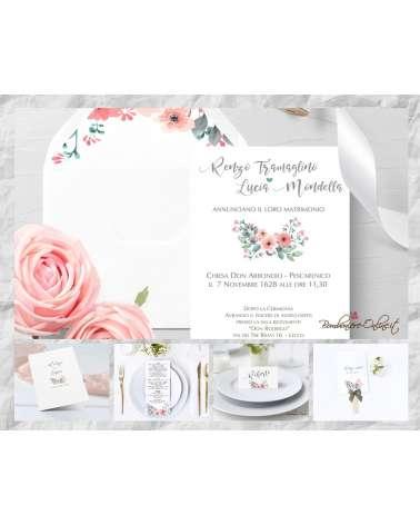 """Set Partecipazione """"Bouquet""""  in set con libro messa, menù, segnaposto e ventaglio coordinati."""