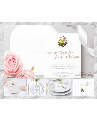 """Set Partecipazione """"Bouquet peonie""""  in set con libro messa, menù, segnaposto e ventaglio coordinati"""